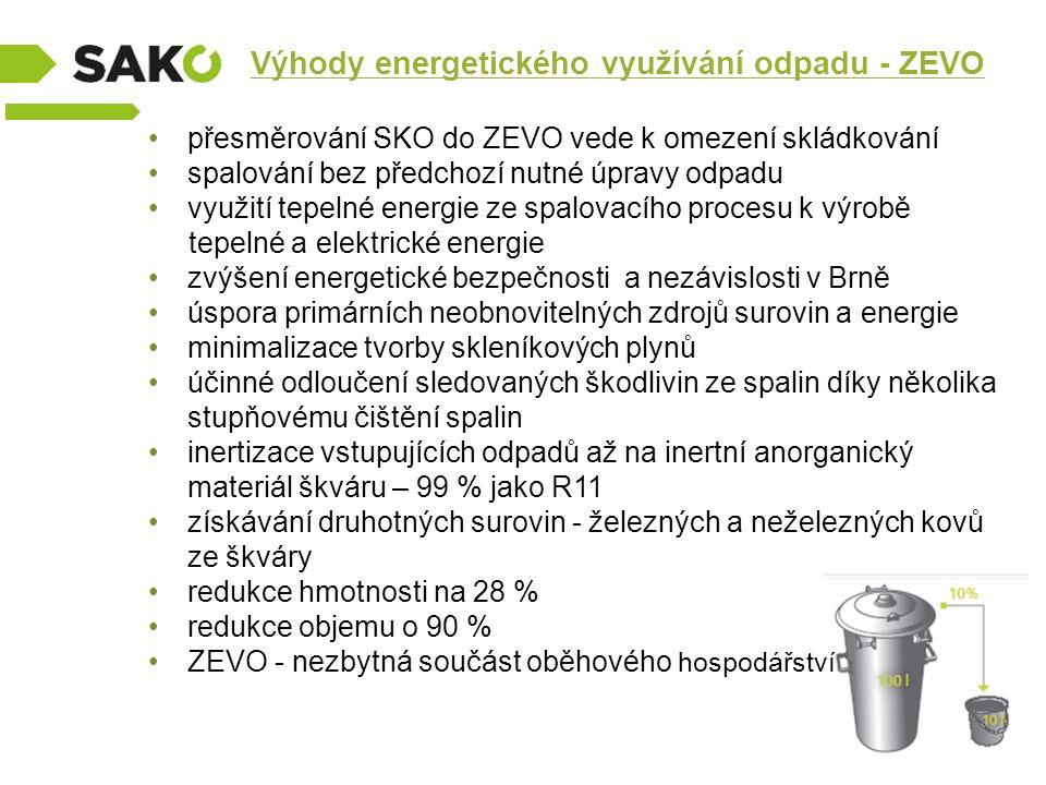 Výhody energetického využívání odpadu - ZEVO přesměrování SKO do ZEVO vede k omezení skládkování spalování bez předchozí nutné úpravy odpadu využití t