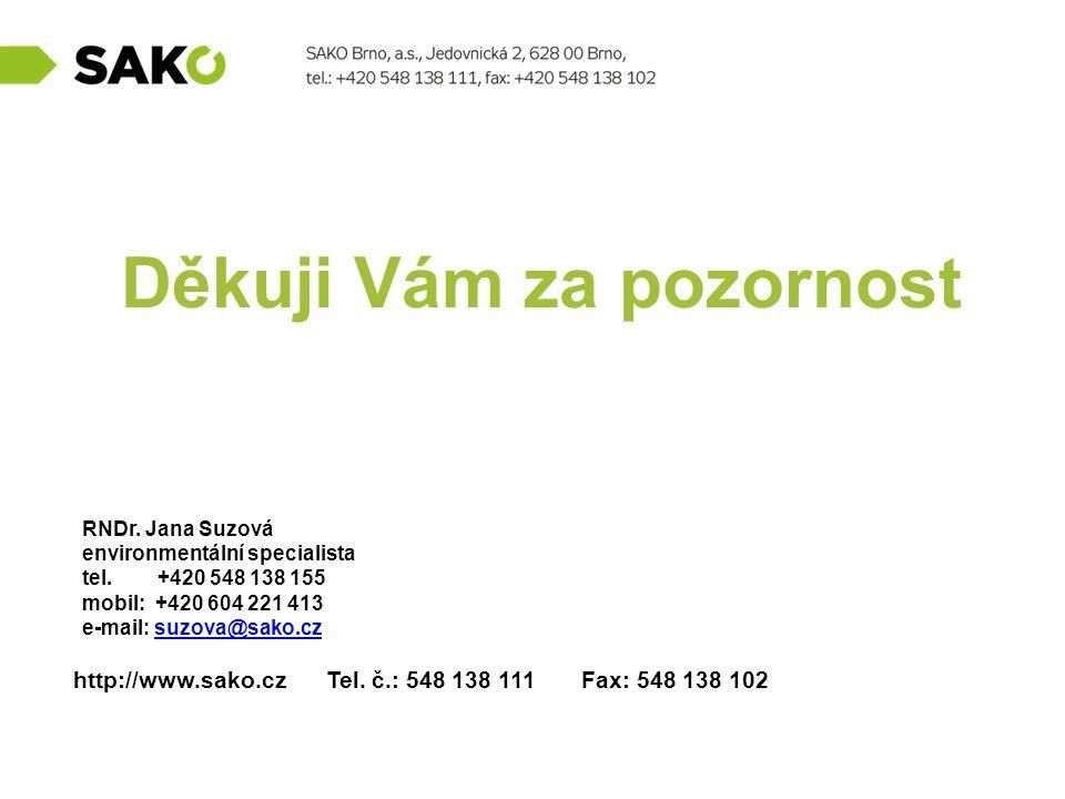 http://www.sako.cz Tel. č.: 548 138 111 Fax: 548 138 102 Děkuji Vám za pozornost RNDr. Jana Suzová environmentální specialista tel. +420 548 138 155 m