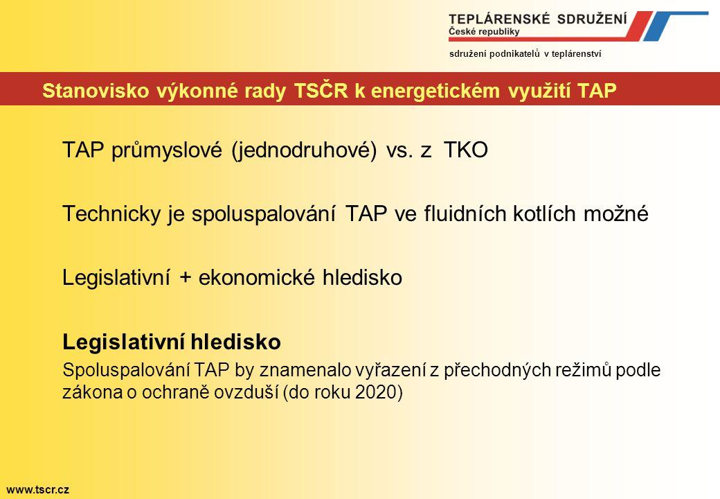 sdružení podnikatelů v teplárenství www.tscr.cz Stanovisko výkonné rady TSČR k energetickém využití TAP TAP průmyslové (jednodruhové) vs.