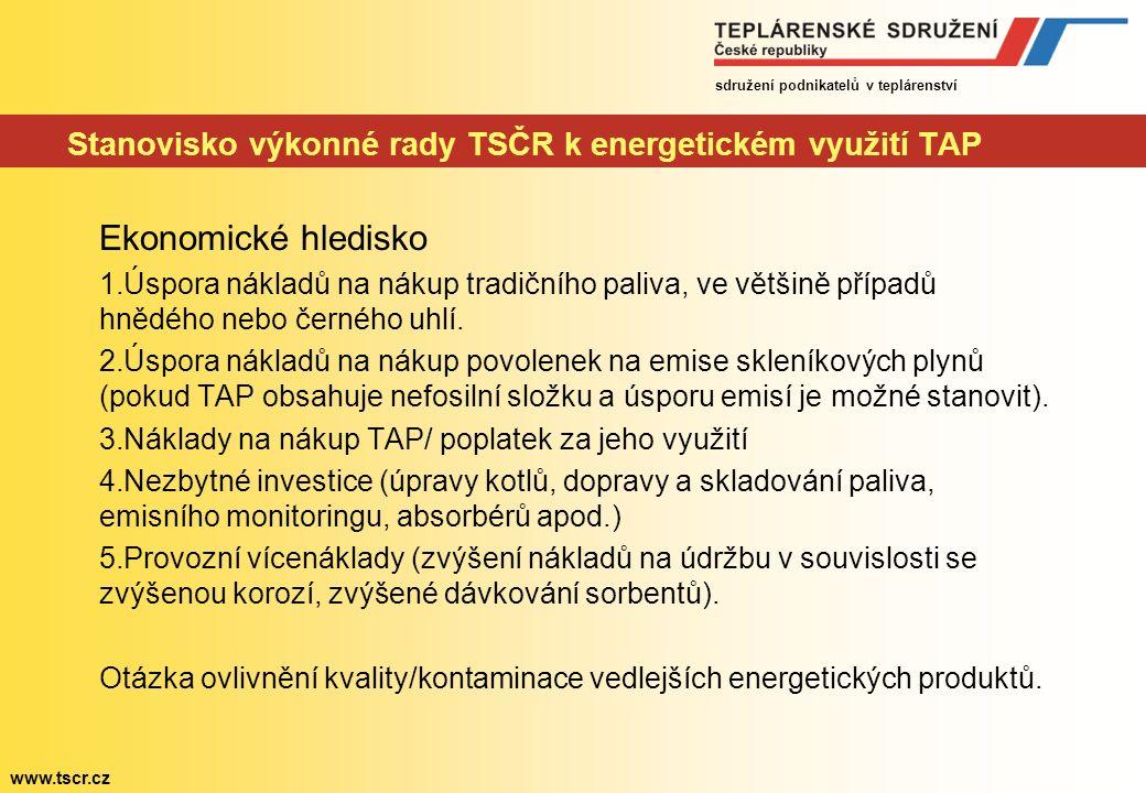 sdružení podnikatelů v teplárenství www.tscr.cz Stanovisko výkonné rady TSČR k energetickém využití TAP Ekonomické hledisko 1.Úspora nákladů na nákup tradičního paliva, ve většině případů hnědého nebo černého uhlí.