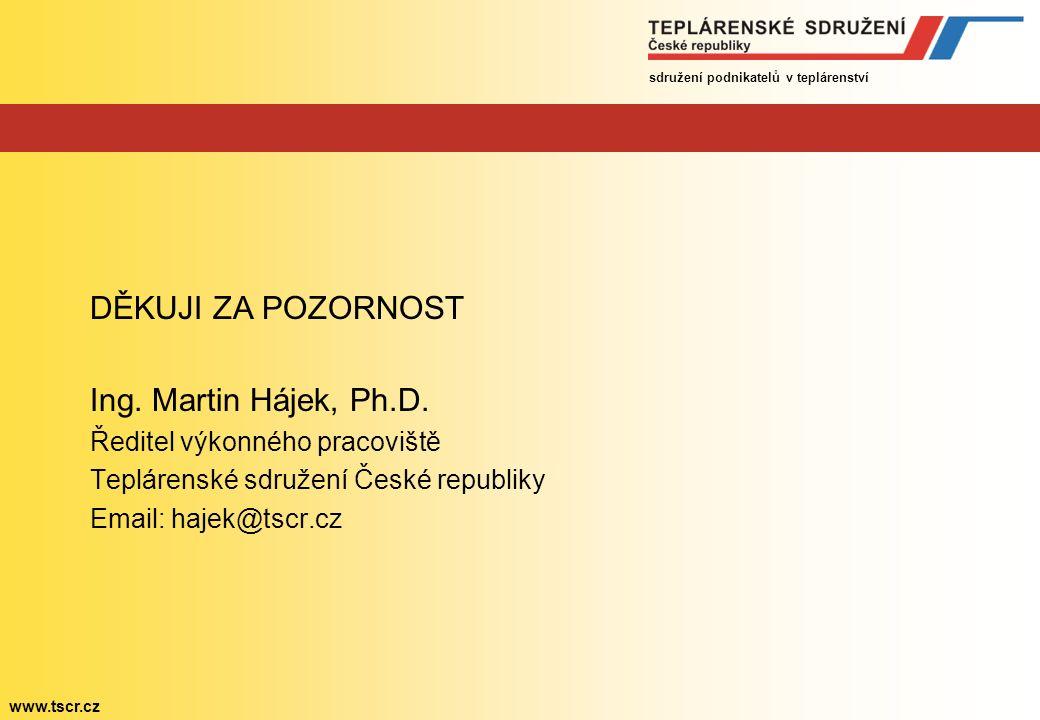 sdružení podnikatelů v teplárenství www.tscr.cz DĚKUJI ZA POZORNOST Ing.
