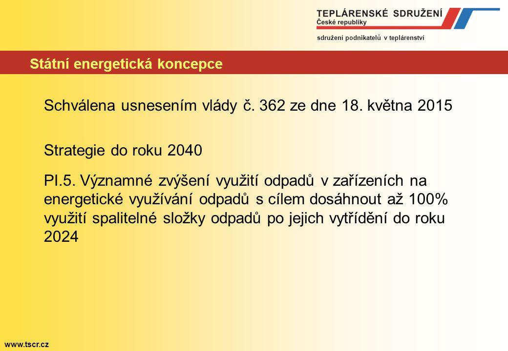 sdružení podnikatelů v teplárenství www.tscr.cz Státní energetická koncepce Schválena usnesením vlády č.