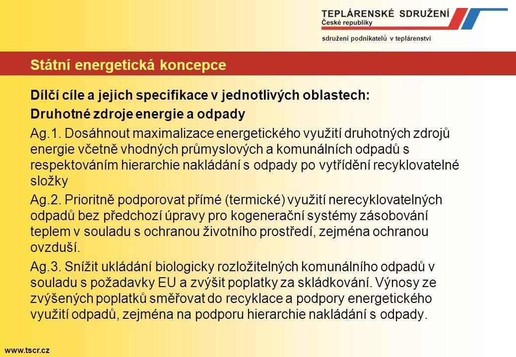 sdružení podnikatelů v teplárenství www.tscr.cz Státní energetická koncepce Dílčí cíle a jejich specifikace v jednotlivých oblastech: Druhotné zdroje energie a odpady Ag.1.