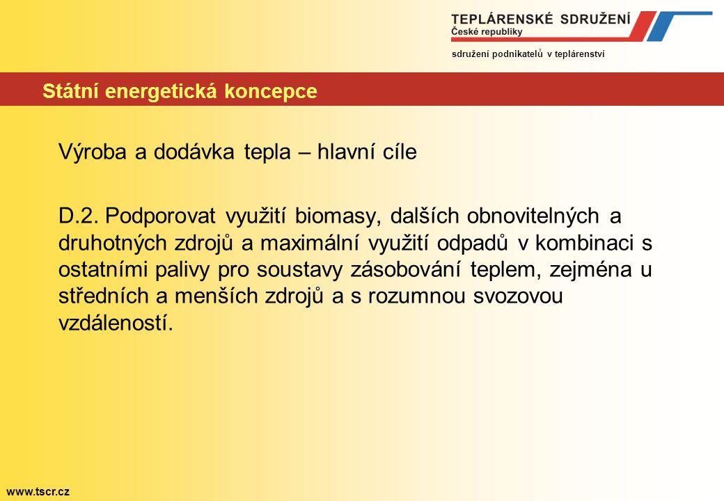 sdružení podnikatelů v teplárenství www.tscr.cz Státní energetická koncepce Výroba a dodávka tepla – hlavní cíle D.2.