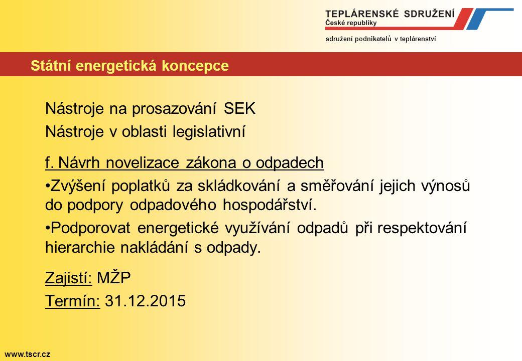 sdružení podnikatelů v teplárenství www.tscr.cz Státní energetická koncepce Nástroje na prosazování SEK Nástroje v oblasti legislativní f.