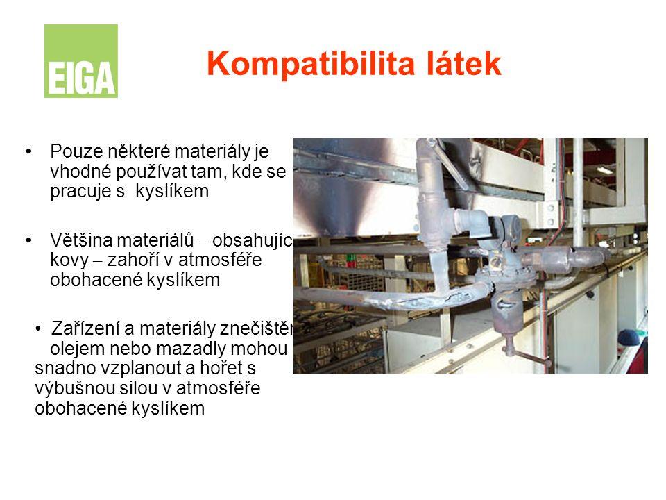 Kompatibilita látek Pouze některé materiály je vhodné používat tam, kde se pracuje s kyslíkem Většina materiálů – obsahující kovy – zahoří v atmosféře
