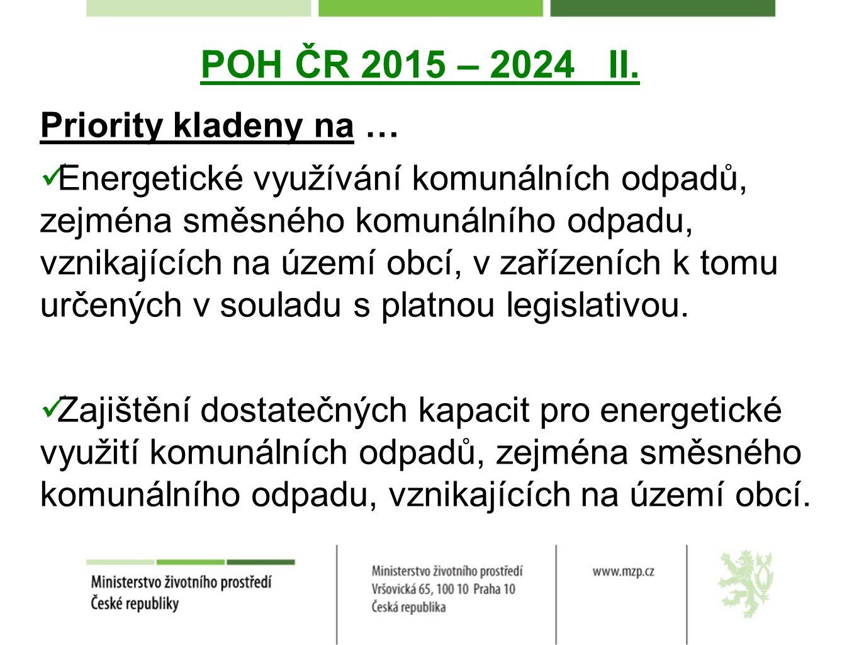 POH ČR 2015 – 2024 II. Priority kladeny na … Energetické využívání komunálních odpadů, zejména směsného komunálního odpadu, vznikajících na území obcí
