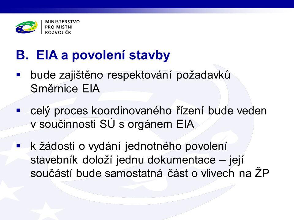  bude zajištěno respektování požadavků Směrnice EIA  celý proces koordinovaného řízení bude veden v součinnosti SÚ s orgánem EIA  k žádosti o vydání jednotného povolení stavebník doloží jednu dokumentace – její součástí bude samostatná část o vlivech na ŽP B.