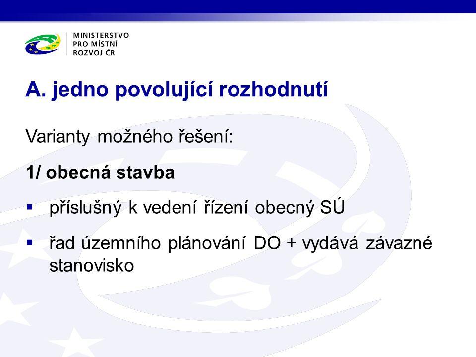 Varianty možného řešení: 1/ obecná stavba  příslušný k vedení řízení obecný SÚ  řad územního plánování DO + vydává závazné stanovisko A.