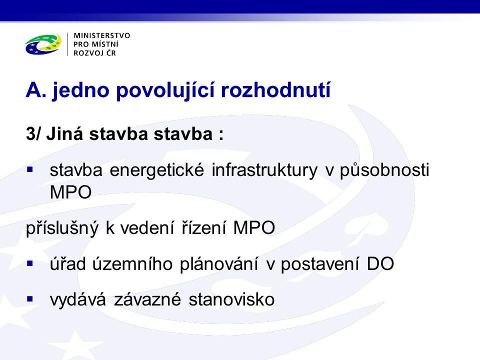 4/ soubor staveb příslušný k vedení řízení ten SÚ, který by byl příslušný k povolení stavby hlavní  ostatní SÚ a úřad územního plánování v postavení DO  vydávají závazná stanoviska A.