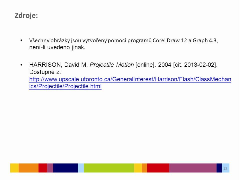 12 Zdroje: Všechny obrázky jsou vytvořeny pomocí programů Corel Draw 12 a Graph 4.3, není-li uvedeno jinak. HARRISON, David M. Projectile Motion [onli