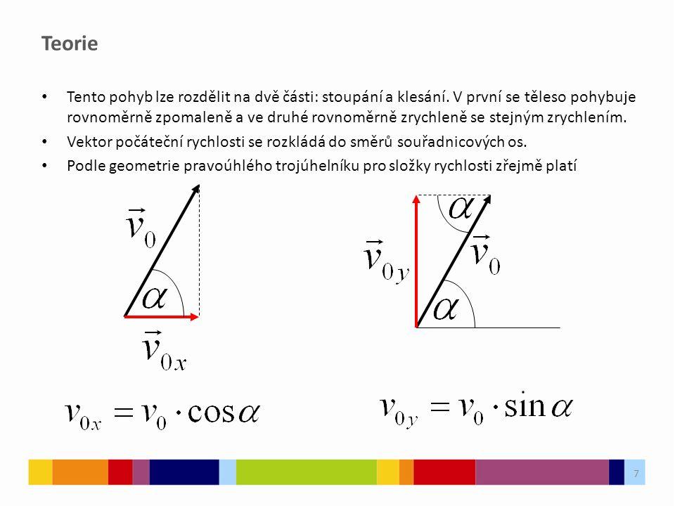 7 Teorie Tento pohyb lze rozdělit na dvě části: stoupání a klesání. V první se těleso pohybuje rovnoměrně zpomaleně a ve druhé rovnoměrně zrychleně se