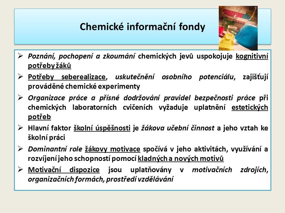Chemické informační fondy  Poznání, pochopení a zkoumání chemických jevů uspokojuje kognitivní potřeby žáků  Potřeby seberealizace, uskutečnění osob