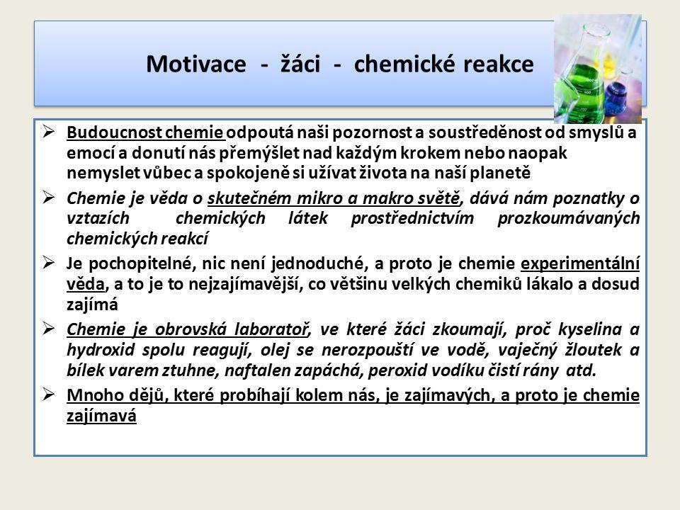Motivace - žáci - chemické reakce  Budoucnost chemie odpoutá naši pozornost a soustředěnost od smyslů a emocí a donutí nás přemýšlet nad každým kroke