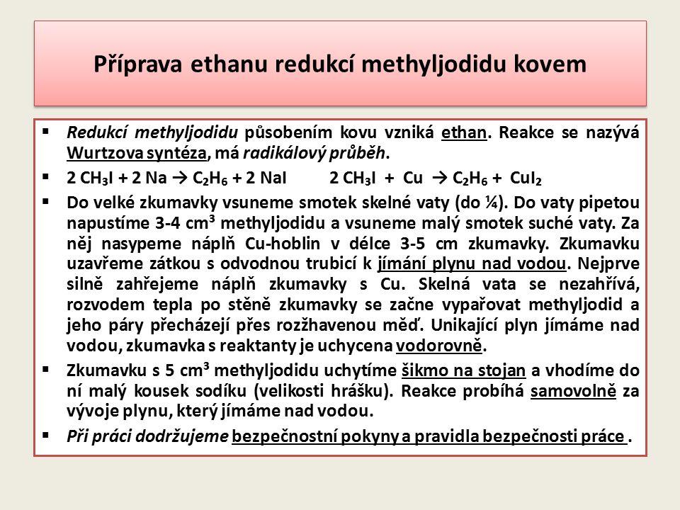 Příprava ethanu redukcí methyljodidu kovem  Redukcí methyljodidu působením kovu vzniká ethan. Reakce se nazývá Wurtzova syntéza, má radikálový průběh