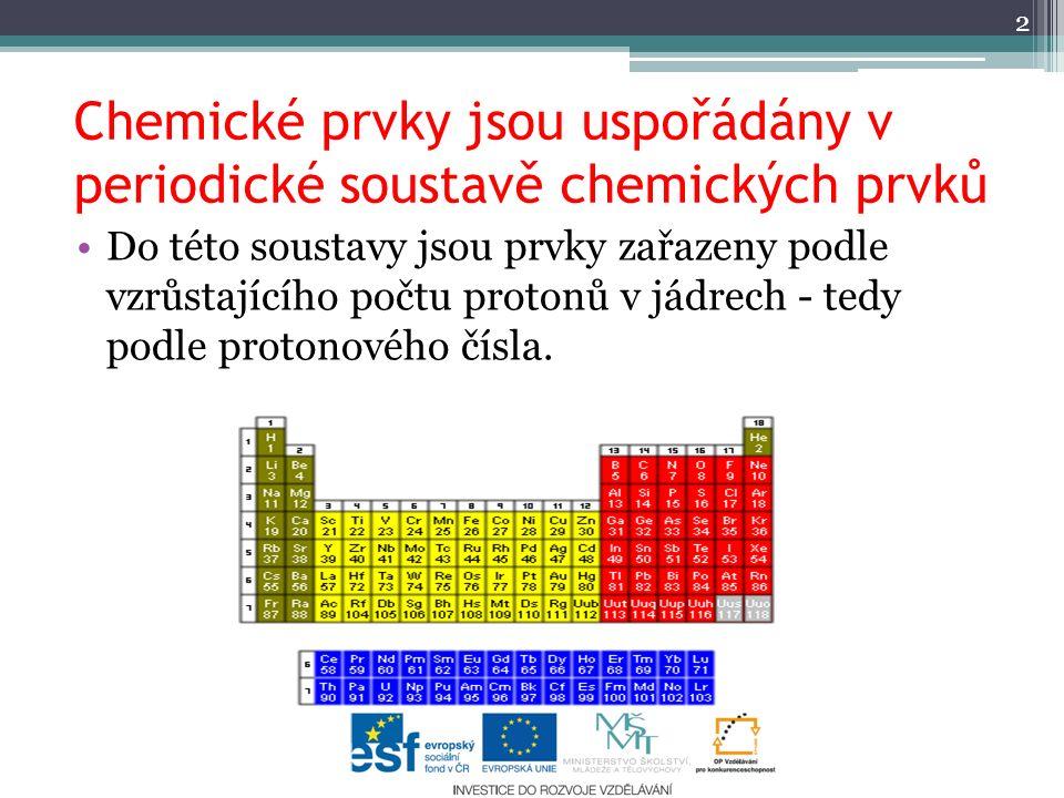 Chemické prvky jsou uspořádány v periodické soustavě chemických prvků 2 Do této soustavy jsou prvky zařazeny podle vzrůstajícího počtu protonů v jádre