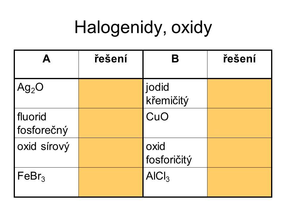 Halogenidy, oxidy AřešeníB Ag 2 Ooxid stříbrný jodid křemičitý SiI 4 fluorid fosforečný PF 5 CuOoxid měďnatý oxid sírovýSO 3 oxid fosforičitý PO 2 FeBr 3 bromid železitý AlCl 3 chlorid hlinitý