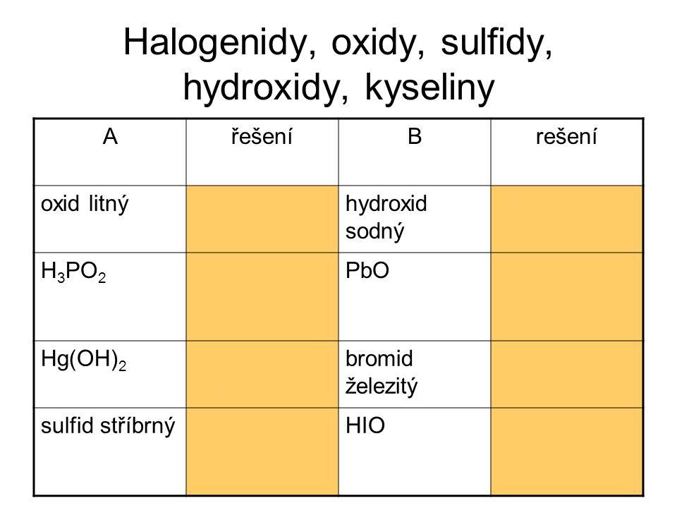 Halogenidy, oxidy, sulfidy, hydroxidy, kyseliny AřešeníBrešení oxid litnýLi 2 Ohydroxid sodný NaOH H 3 PO 2 kyselina trihydrogen- fosforná PbOoxid olovnatý Hg(OH) 2 hydroxid rtuťnatý bromid železitý FeBr 3 sulfid stříbrnýAg 2 OHIOkyselina monohydro- genjodná