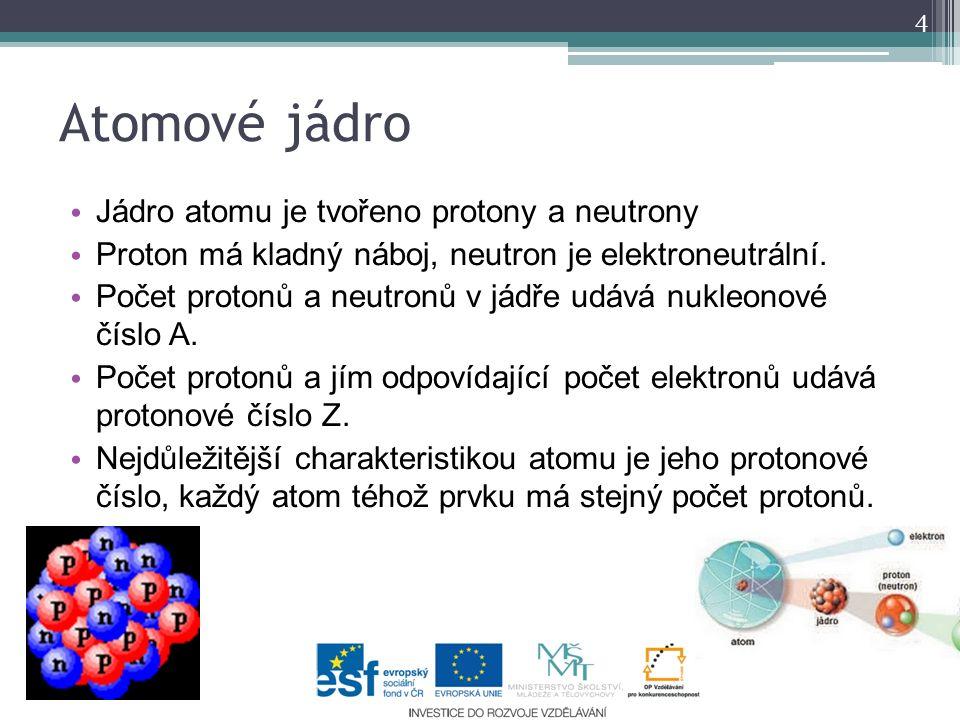 Atomové jádro Jádro atomu je tvořeno protony a neutrony Proton má kladný náboj, neutron je elektroneutrální. Počet protonů a neutronů v jádře udává nu