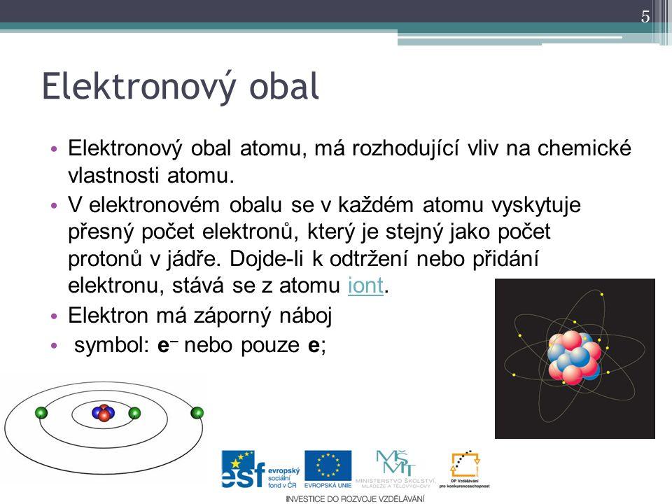 Elektronový obal atomu, má rozhodující vliv na chemické vlastnosti atomu. V elektronovém obalu se v každém atomu vyskytuje přesný počet elektronů, kte