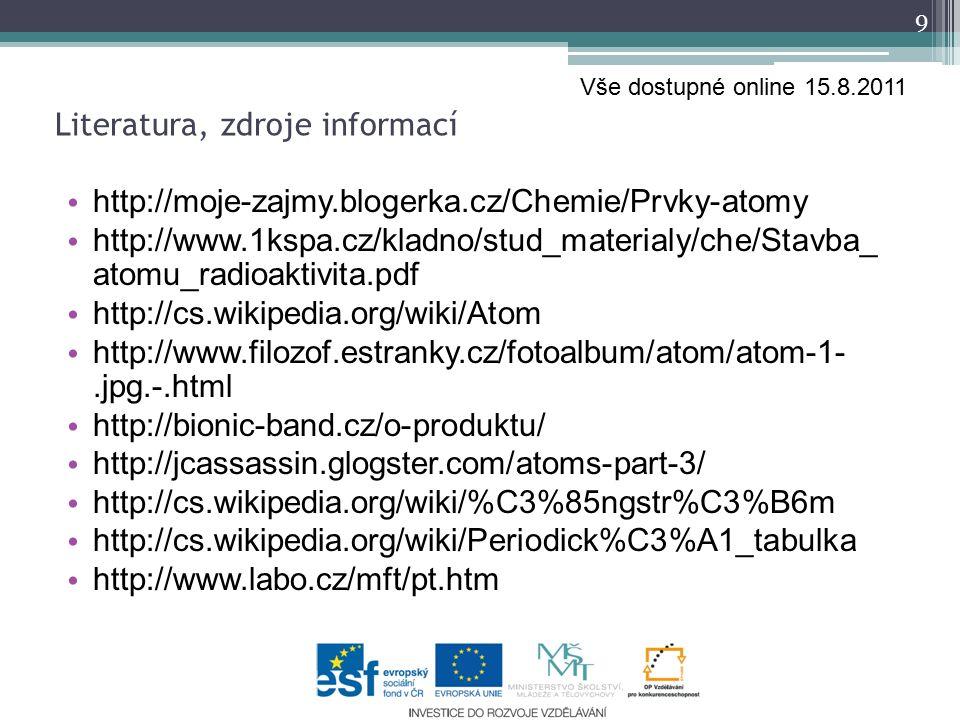 http://moje-zajmy.blogerka.cz/Chemie/Prvky-atomy http://www.1kspa.cz/kladno/stud_materialy/che/Stavba_ atomu_radioaktivita.pdf http://cs.wikipedia.org