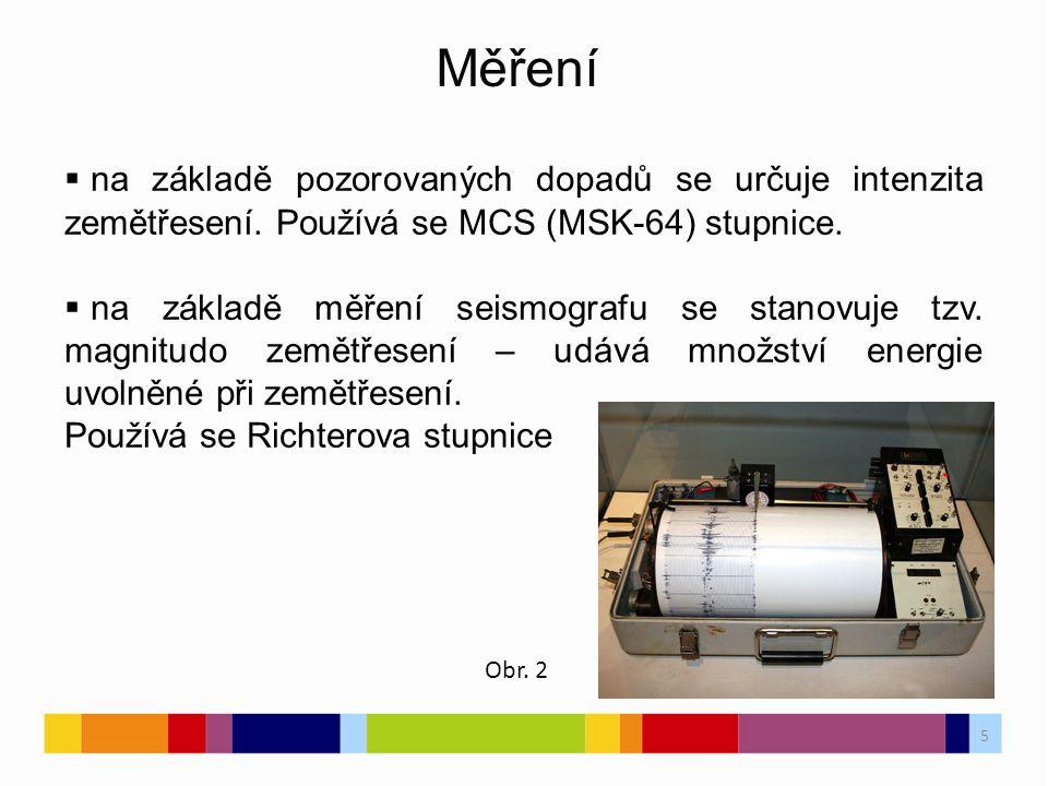 6 Mercalliho stupnice PojmenováníPopis Richterova stupnice INepozorovatelnéČlověk nerozpozná, pouze přístroje2 IIVelmi slabé Rozpoznatelné v horních patrech budov citlivými lidmi (2,6 - 5 mm.s-2).