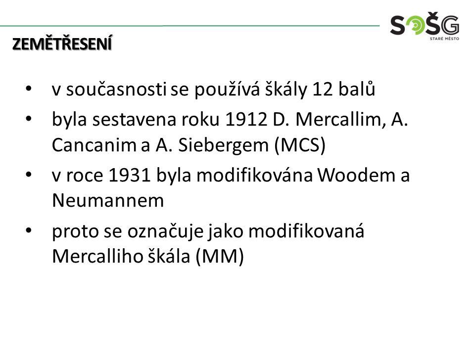 ZEMĚTŘESENÍ v současnosti se používá škály 12 balů byla sestavena roku 1912 D. Mercallim, A. Cancanim a A. Siebergem (MCS) v roce 1931 byla modifiková