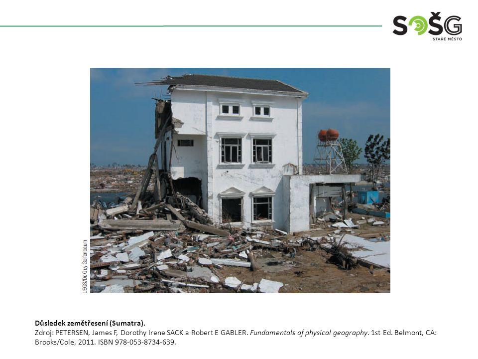 Důsledek zemětřesení (Sumatra). Zdroj: PETERSEN, James F, Dorothy Irene SACK a Robert E GABLER.