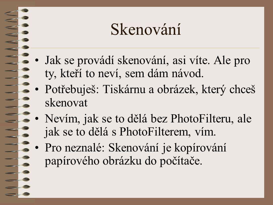 Skenování Jak se provádí skenování, asi víte.Ale pro ty, kteří to neví, sem dám návod.