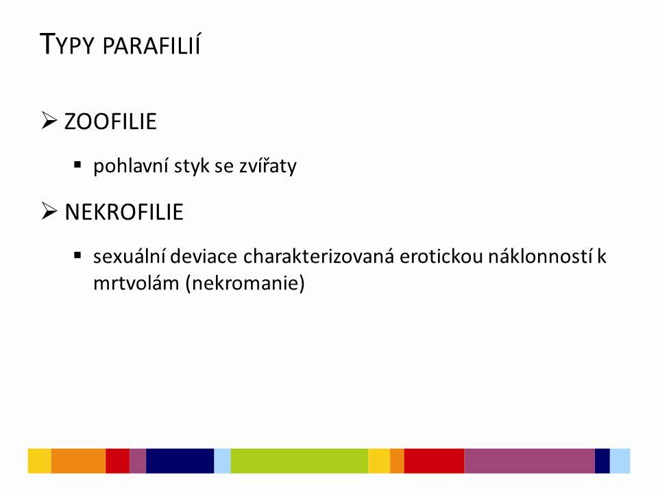 T YPY PARAFILIÍ  ZOOFILIE  pohlavní styk se zvířaty  NEKROFILIE  sexuální deviace charakterizovaná erotickou náklonností k mrtvolám (nekromanie)