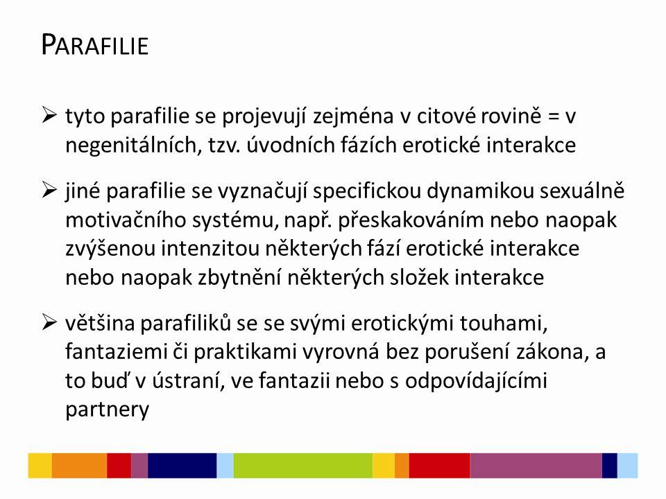 P ARAFILIE  tyto parafilie se projevují zejména v citové rovině = v negenitálních, tzv.