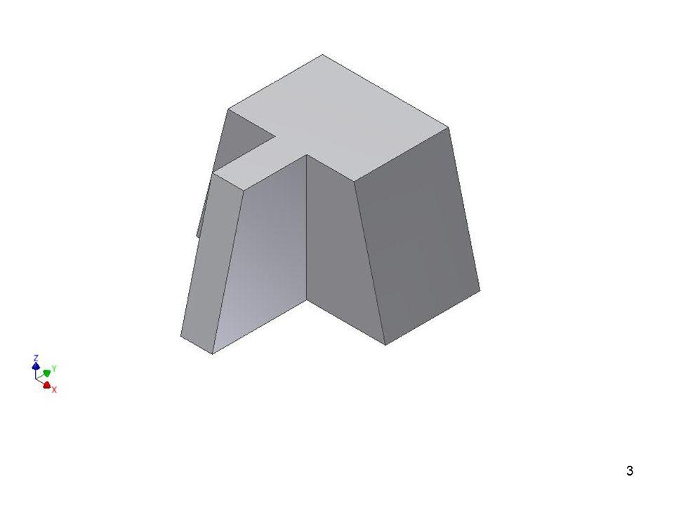 Úkol 3: V podstatě stejného výsledku dosáhneme, když NÁRYS doplníme PŮDORYSEM (také je vidět i hloubka součásti, ale jsou zde neviditelné hrany, které se nekótují).