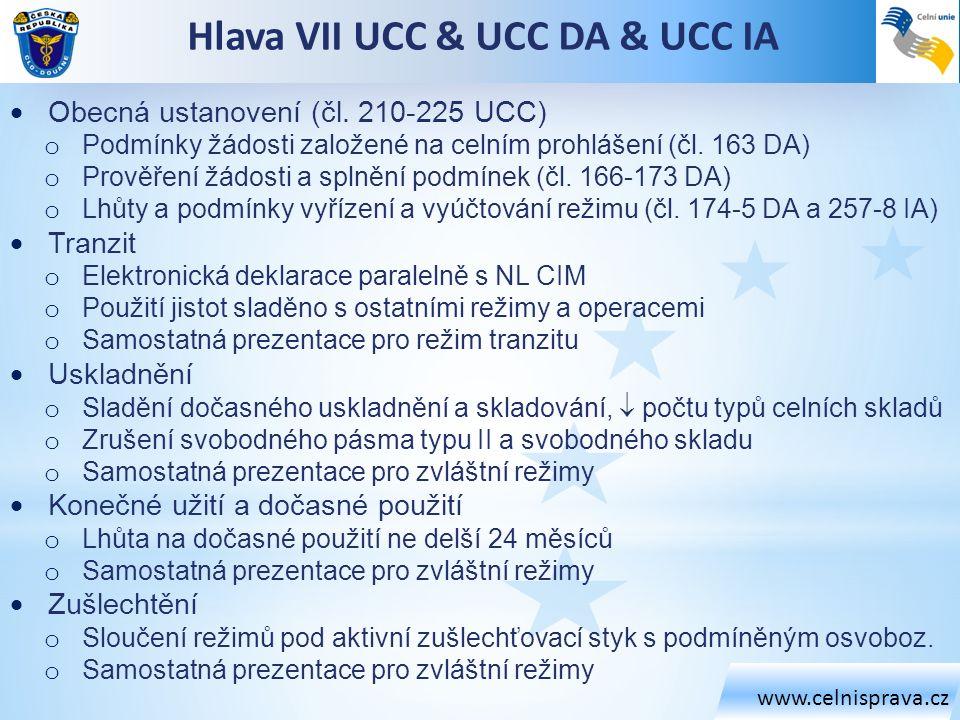 www.celnisprava.cz Hlava VII UCC & UCC DA & UCC IA  Obecná ustanovení (čl. 210-225 UCC) o Podmínky žádosti založené na celním prohlášení (čl. 163 DA)