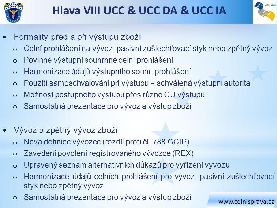www.celnisprava.cz Hlava VIII UCC & UCC DA & UCC IA  Formality před a při výstupu zboží o Celní prohlášení na vývoz, pasivní zušlechťovací styk nebo