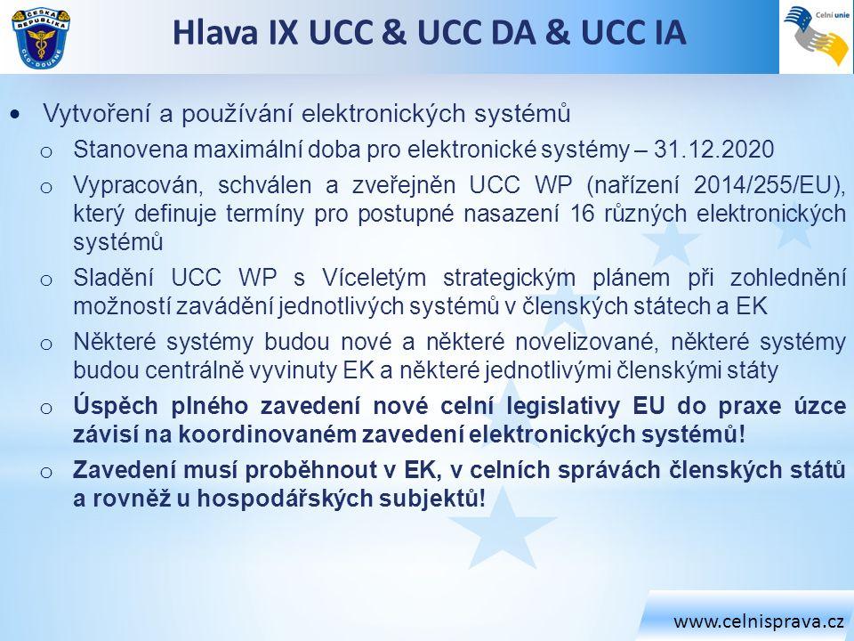 www.celnisprava.cz Hlava IX UCC & UCC DA & UCC IA  Vytvoření a používání elektronických systémů o Stanovena maximální doba pro elektronické systémy –
