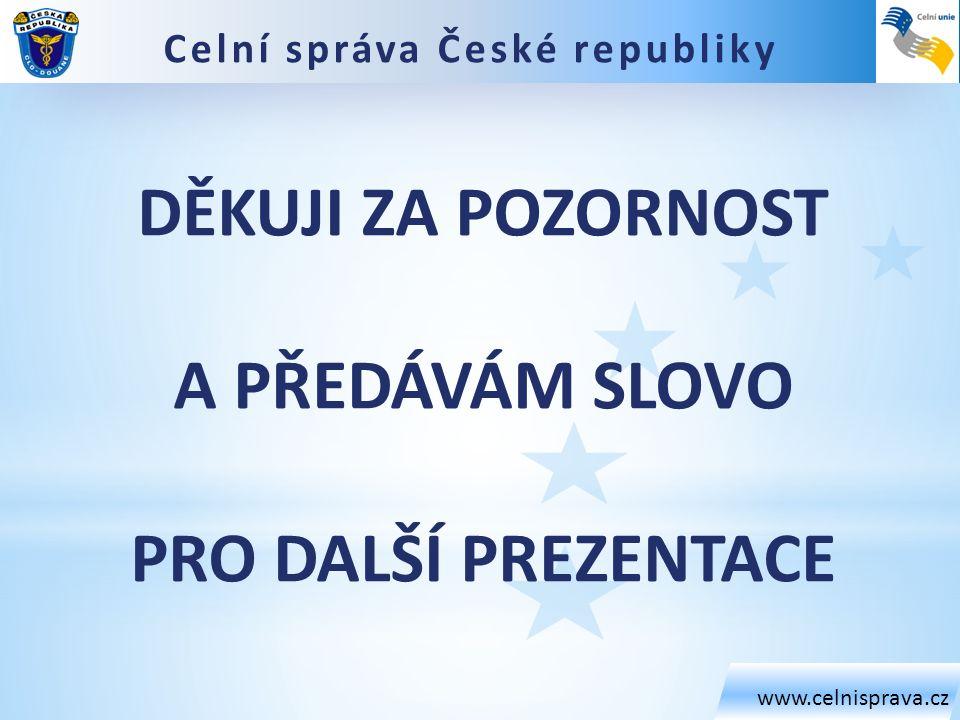 www.celnisprava.cz DĚKUJI ZA POZORNOST A PŘEDÁVÁM SLOVO PRO DALŠÍ PREZENTACE Celní správa České republiky