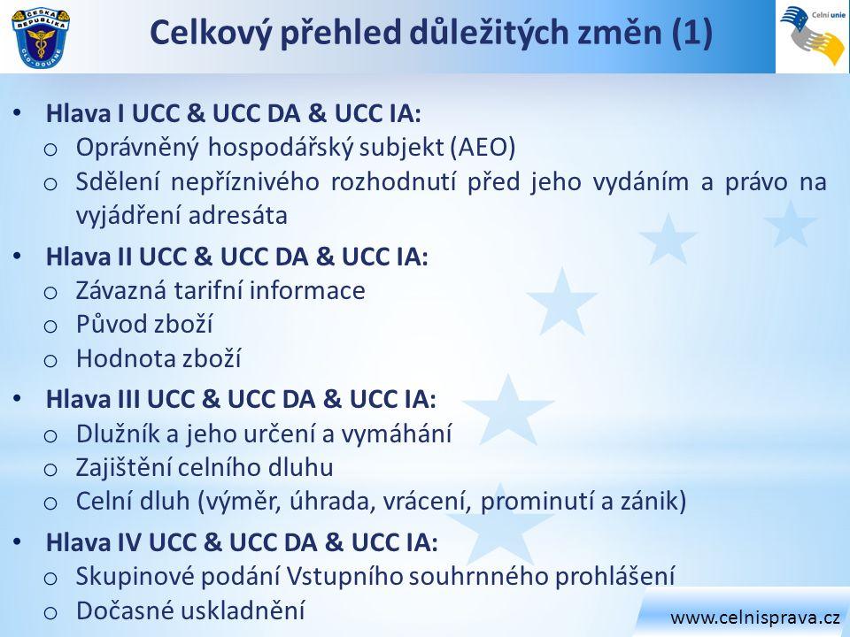 www.celnisprava.cz Celkový přehled důležitých změn (1) Hlava I UCC & UCC DA & UCC IA: o Oprávněný hospodářský subjekt (AEO) o Sdělení nepříznivého roz