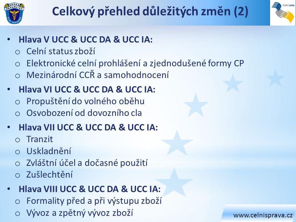 www.celnisprava.cz Celkový přehled důležitých změn (2) Hlava V UCC & UCC DA & UCC IA: o Celní status zboží o Elektronické celní prohlášení a zjednoduš