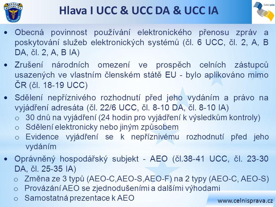 www.celnisprava.cz  Obecná povinnost používání elektronického přenosu zpráv a poskytování služeb elektronických systémů (čl. 6 UCC, čl. 2, A, B DA, č