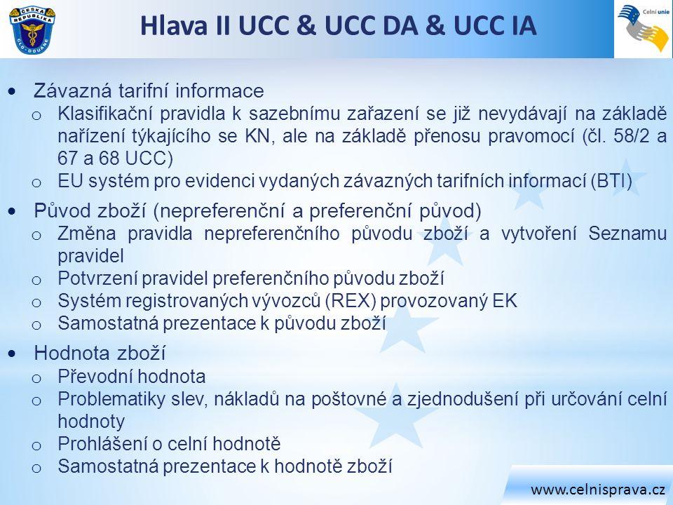 www.celnisprava.cz Hlava II UCC & UCC DA & UCC IA  Závazná tarifní informace o Klasifikační pravidla k sazebnímu zařazení se již nevydávají na základ