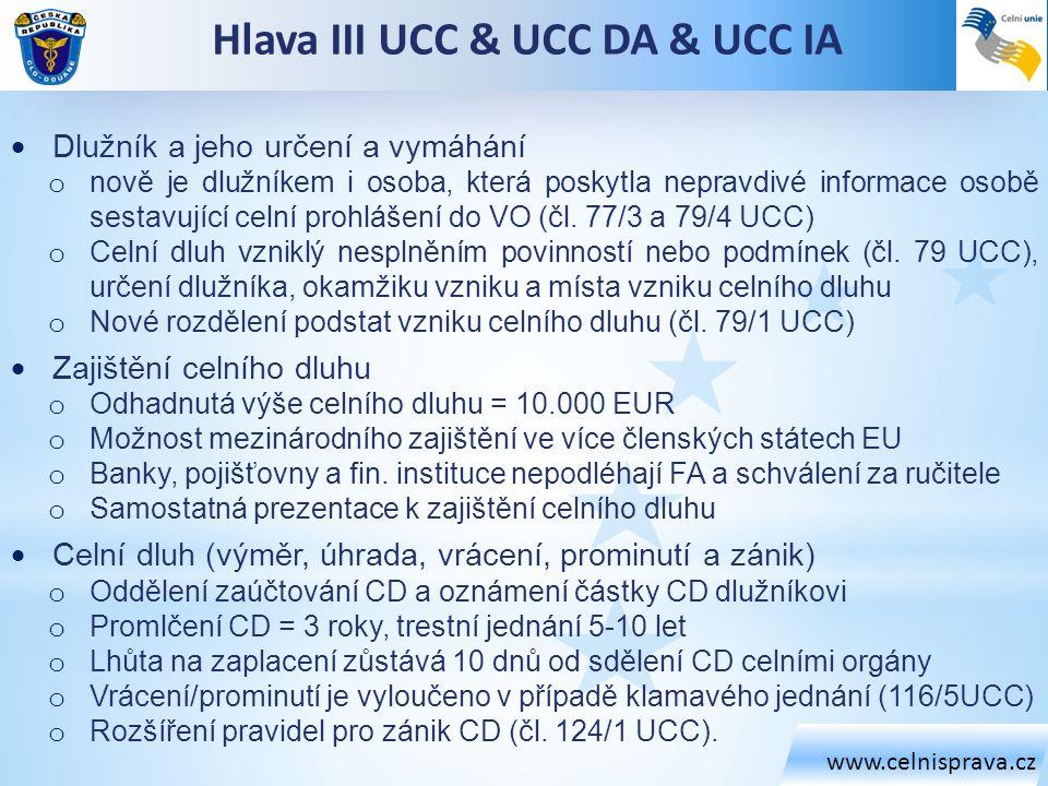 www.celnisprava.cz Hlava III UCC & UCC DA & UCC IA  Dlužník a jeho určení a vymáhání o nově je dlužníkem i osoba, která poskytla nepravdivé informace