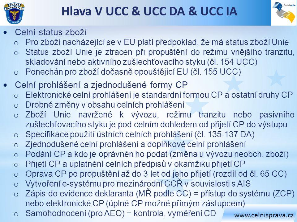www.celnisprava.cz Hlava V UCC & UCC DA & UCC IA  Celní status zboží o Pro zboží nacházející se v EU platí předpoklad, že má status zboží Unie o Stat