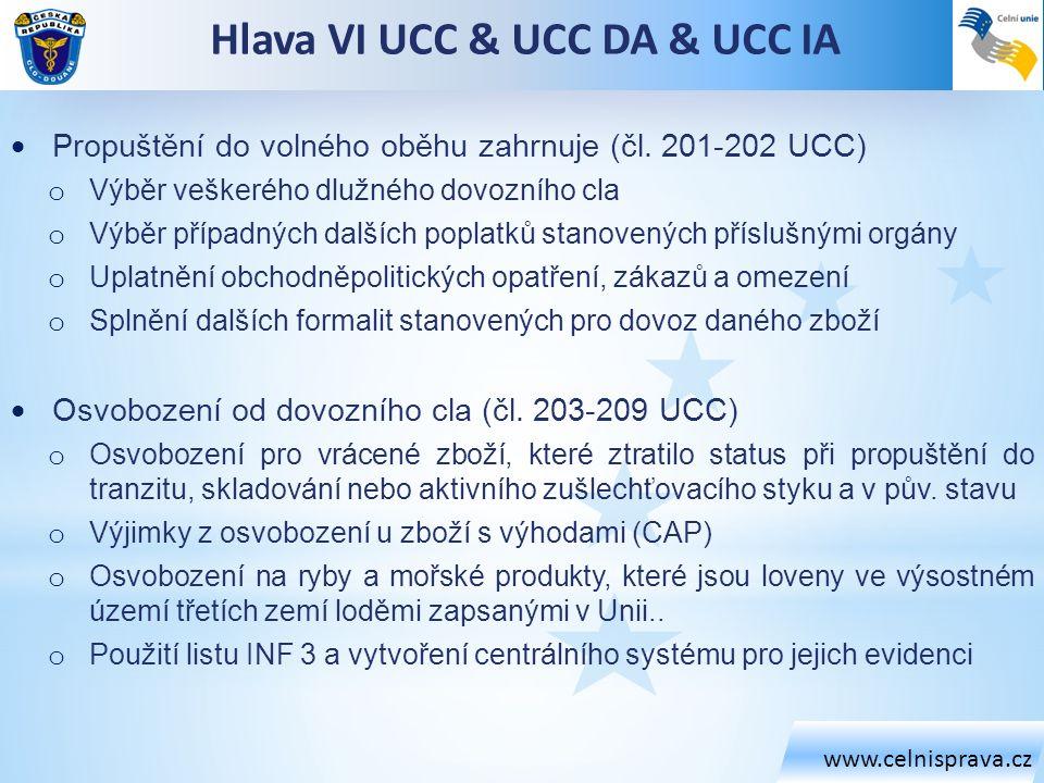 www.celnisprava.cz Hlava VI UCC & UCC DA & UCC IA  Propuštění do volného oběhu zahrnuje (čl. 201-202 UCC) o Výběr veškerého dlužného dovozního cla o