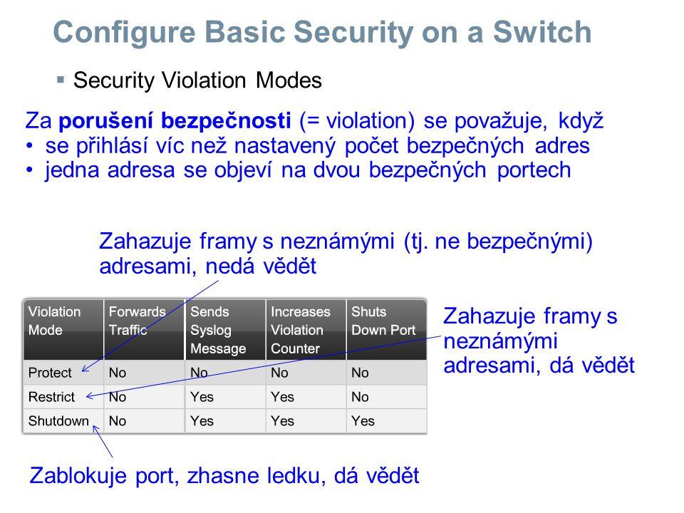  Security Violation Modes Configure Basic Security on a Switch Za porušení bezpečnosti (= violation) se považuje, když se přihlásí víc než nastavený