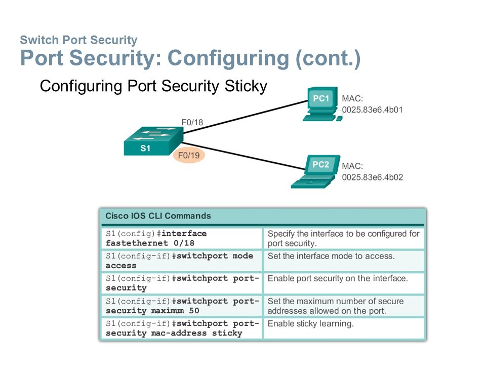 Switch Port Security Port Security: Configuring (cont.) Configuring Port Security Sticky