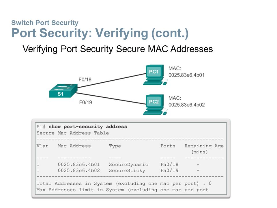 Switch Port Security Ports in Error-Disabled State  A port security violation can put a switch in error- disabled state.