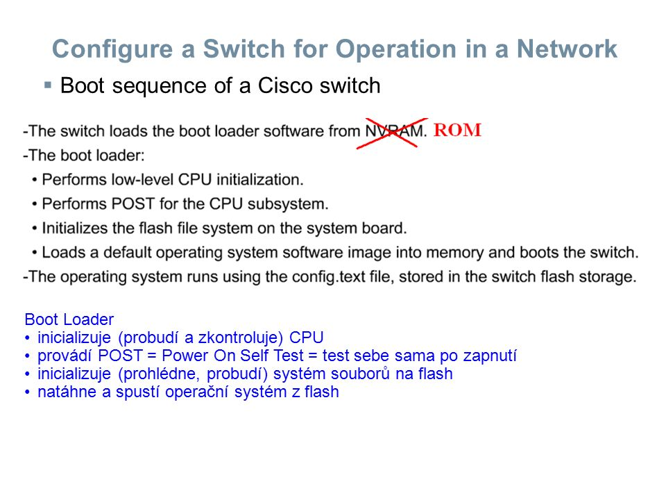 Configure a Switch for Operation in a Network  Boot sequence of a Cisco switch Boot Loader inicializuje (probudí a zkontroluje) CPU provádí POST = Po