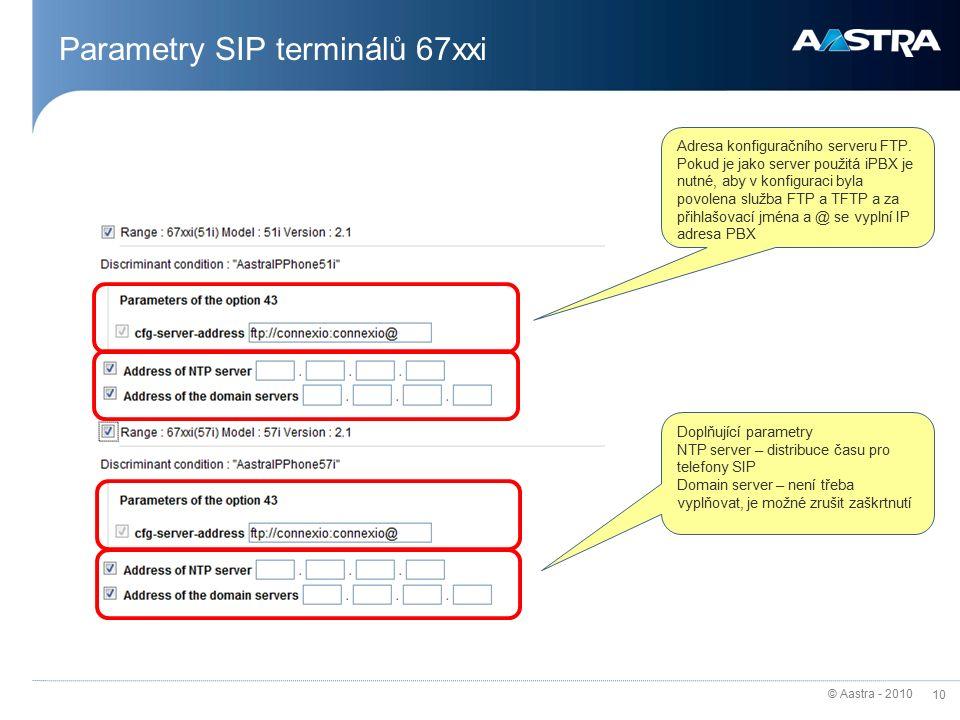 © Aastra - 2010 10 Parametry SIP terminálů 67xxi Adresa konfiguračního serveru FTP.