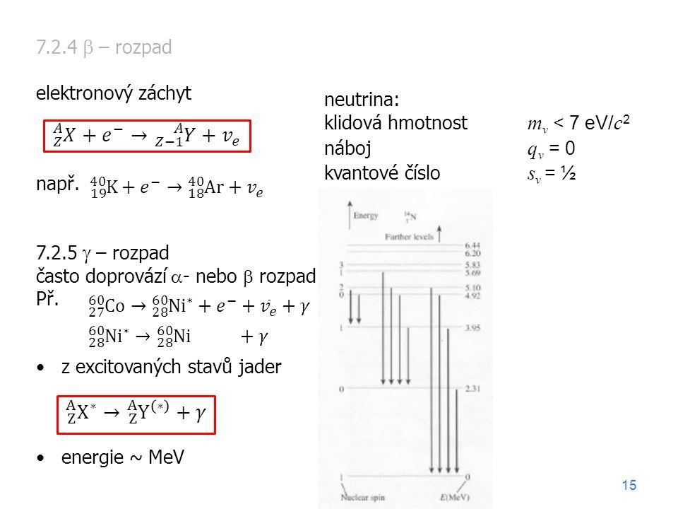 7.2.4  – rozpad elektronový záchyt např. 7.2.5  – rozpad často doprovází  - nebo  rozpad Př. z excitovaných stavů jader energie ~ MeV neutrina: