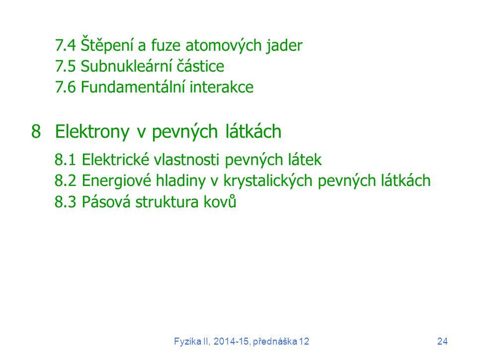 7.4 Štěpení a fuze atomových jader 7.5 Subnukleární částice 7.6 Fundamentální interakce 8Elektrony v pevných látkách 8.1 Elektrické vlastnosti pevných